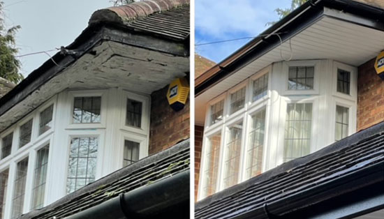 before and after of new fascias and soffits installed for customer in Hertfordshire.