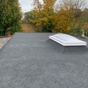 Felt flat roof installed for a business with a skylight.