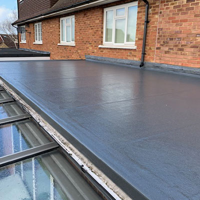 Finished fibreglass roof in Hertfordshire for a customer.